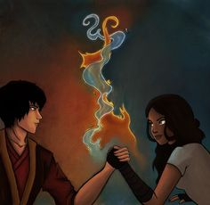Katara and Zuko are arm wrestling so they are 'in balance'. (notice the elements tangling) Enjoy! UPDATE: I changed the background, the elements a bit and the contrast. Avatar Zuko, Avatar Airbender, Zuko And Katara, Avatar Funny, Team Avatar, Avatar Fan Art, Prince Zuko, The Last Avatar, Avatar Series