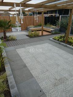 Garden Pool, Terrace Garden, Lawn And Garden, Garden Landscaping, Patio Slabs, Patio Tiles, Outdoor Cabana, Outdoor Pergola, Outside Tiles