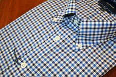 Faconnable  Bi-Color Gingham    Sport Shirt  Blue | #Mondo #Uomo #Naples #Fashion