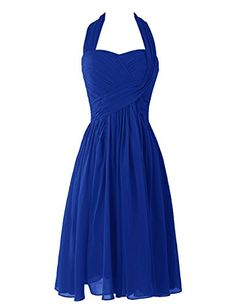 Dresstells™ Women's Short Halter Chiffon Homecoming Dress Bridesmaid Dress Royal…