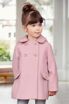 Buy Pink Double Breasted Coat from the Next UK online shop Little Girl Fashion, Toddler Fashion, Toddler Outfits, Fashion Kids, Girl Outfits, Childrens Coats, Kids Coats, Baby Girl Dresses, Baby Dress