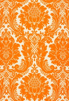 Harmon Manor II Blue 2643543 by Schumacher Fabric Classic-Prints Linen, Cotton - Horizontal: 27 and Vertical: - Fabric Carolina - Textile Patterns, Textile Design, Fabric Design, Print Patterns, Textiles, Damask Patterns, Orange Fabric, Blue Fabric, Deco Floral