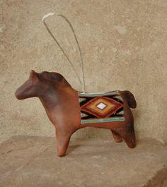 Aged Ceramic Horse Ornament- Navajo, Native American Art, Southwest