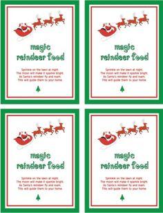 magic reindeer food poem printable