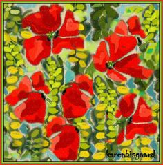Karen`s Postcard Paintings: Poppies and Yellow Flowers.
