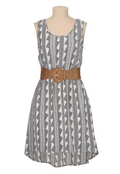 Printed High-low belted Cage back dress (original price, $39) available at #Maurices