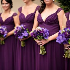 The Combination Of Violet Bridesmaid Dresses And Their Bouquets Purple Mokara Orchids Stock Lisianthus Trachelium Plum Mini Calla Lilies