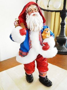 fb51d45d2c Possible Dreams Clothtique Figurine SANTA w  Puppy and Bag of Toys 1994 -  NICE!