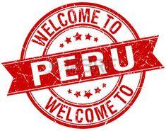 la bienvenida a Perú sello rojo de la cinta redonda