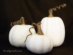white and jute pumpkins made from dollar store pumpkins !