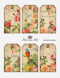 6 Postcard Rose Pink Bird Vintage Style 155 Lb Paper Craft Card Scrapbook Tag L Vintage Tags, Vintage Labels, Vintage Ephemera, Vintage Paper, Vintage Roses, Vintage Pink, Vintage Style, Card Tags, Gift Tags