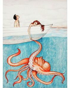 Octopus Pen and Colored Pencil Drawing, a Quirky Framed Piece that's ready to hang. via Etsy. Art And Illustration, Le Kraken, Pencil Drawings, Art Drawings, Motif Art Deco, Octopus Art, Wow Art, Sea Creatures, Colored Pencils