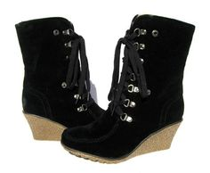 Women's Fashion BOOTS Black Snow Winter Fur Wedge shoes Ladies size 6 | eBay