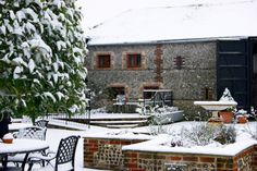 Court yard at Upwaltham Barns in winter