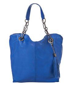 Electric Blue Leather Tassel Tote #zulily #zulilyfinds