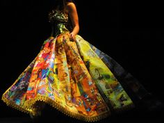 The Dress of Fairy Tales: Turning Golden Books Into a Golden Gown. This is the Golden Book Gown, created by Ryan Novelline and constructed almost entirely of discarded Golden Books. The skirt is consists of 22,000 square inches of pages, and the bodice was made using the spines of the books.