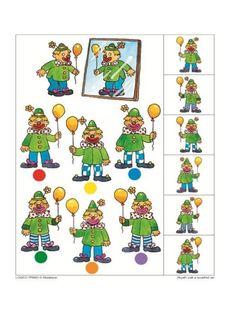 wat ziet de clown in de spiegel? Kindergarten Lesson Plans, Preschool Activities, Educational Games For Kids, Kids Learning, Clown Cirque, Clown Crafts, Visual Perception Activities, Sequencing Cards, Speech Activities