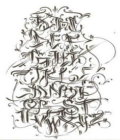 4 Tagging Letters Styles: Graffiti Alphabet A-Z. This is a graffiti tagging alphabet letters from Germany. Combat graffiti tagging letters f. Tattoo Lettering Alphabet, Tattoo Lettering Styles, Chicano Lettering, Graffiti Lettering Fonts, Font Art, Creative Lettering, Lettering Design, Typography, Tagging Letters