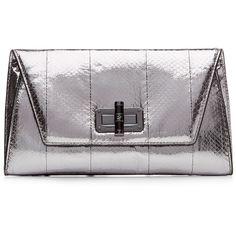 Diane von Furstenberg Metallic Clutch - silver