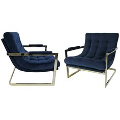 Pair of Nickel Frame Scoop Chairs by Milo Baughman | From a unique collection of antique and modern lounge chairs at https://www.1stdibs.com/furniture/seating/lounge-chairs/