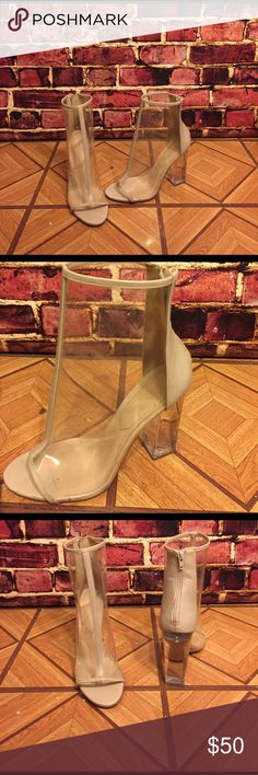 ALDO see through acrylic block heels A la Kim Kardashian. Also size 10. Worn once. Shoes Heels