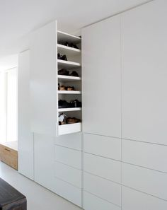 retractable cupboard for shoe storage by Holzrausch Wardrobe Closet, Closet Bedroom, Walk In Closet, Master Bedroom, White Closet, White Wardrobe, Dressing Room Closet, Bedroom Cupboards, How To Store Shoes