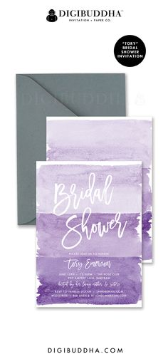 "Purple bridal shower invitations in ombre shades of soft pastel lilac, lavender, grape purple and deeper violet. ""Tory"" style, watercolor details with hand lettered script typography. Coordinating envelope liners and smoke gray envelopes also available. Celebrate live, love, and babies with Digibuddha Invitation + Paper Co."