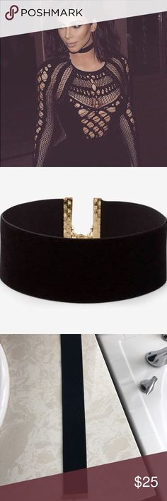 Black velvet choker necklace Wide black velvet women's choker necklace for sale. Jewelry Necklaces