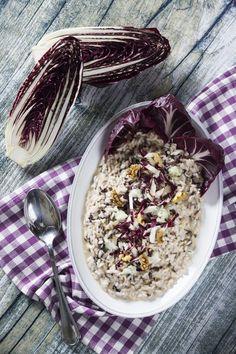 Risotto radicchio e gorgonzola Gnocchi, Italian Cooking, Risotto Radicchio, Rice Recipes, Couscous, Acai Bowl, Oatmeal, Cheese, Breakfast