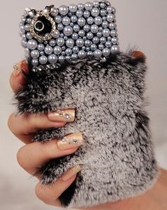 New Chic Synthetic Rabbit Fur Pearls Crystals iPhone Case Iphone 4s, Iphone Cases, Tablet Cover, Cool Cases, New Chic, Pearl Grey, Phone Covers, Arm Warmers, Smartphone