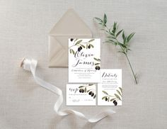 wedding invitation suite:: rustic elegant olive branch | Ashley Bunten Art + Design