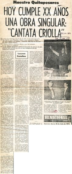 20 años de la Cantata Criolla. Publicado el 25 de julio de 1974.