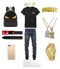 """Issa vibe"" by chiefkeefsosaa on Polyvore featuring True Religion, Balmain, NIKE, Fendi, Michael Kors, Roial, men's fashion and menswear"
