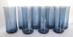 "Eight (8) Vintage LIBBEY Rock Sharpe Bolero Blue Cooler Glasses 16 oz 6.5"" tall"