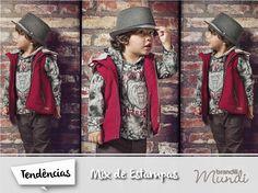 Os pequenos ficam um arraso, né? E a coleção Outono/Inverno 2015 Brandili tá cheia de roupas com a tendência Mix de Estampas. #fashionkidsMundi