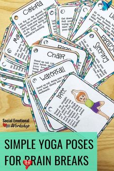 Simple Yoga Cards for Brain Breaks Yoga can be a great coping tool to teach students or incorporate into the classroom through mindfulness or mindful minutes. You can use it during counseling sessions, in the classroom for brain breaks, or as part of mindful moments. Once students know certain positions, they can be prompted to engage in this as an independent coping strategy. Great for a Take a Break Space, added to a coping skills toolbox, or a Brain Break Jar.<br> Brain Breaks For Kindergarten, Mint Green Outfits, Yoga Moves, Coping Skills, Save Yourself, Wasting Time, Pin Collection, Middle School, Bring It On