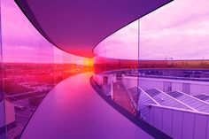 Inside view of Olafur Eliasson's 'Your rainbow panorama' – a rainbow viewing gallery on top of the ARoS Aarhus Kunstmuseum in Denmark.