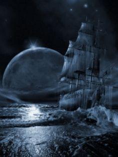 Descargar PIRATE SHIP: Sailing Moon - Animated 240 X 320 Wallpapers - Pirate Ship Moon Sailing   mobile9
