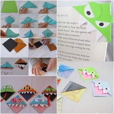 Origami Monster Bookmarks | http://handmade-ideas.com