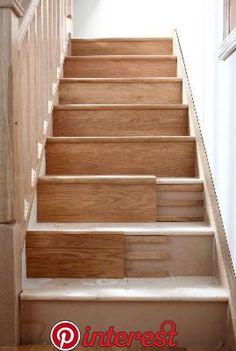icu ~ Pin on Stairs ~ 8 Nov Stair Klad Conversion System - String Veneer Redo Stairs, House Stairs, Basement Stairs, Painted Stairs, Wooden Stairs, Painted Staircases, Stair Klad, Stair Renovation, Staircase Remodel
