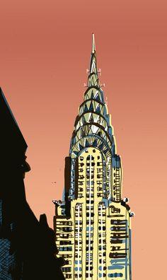 The Chrysler Building New York City Building Drawing, Building Illustration, Art Deco Buildings, Art Deco Posters, Art Journal Techniques, Modern Metropolis, Chrysler Building, New York Art, Architectural Features