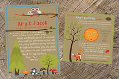 Baby Boy Long Distance Baby Shower-5x7 Invitation and 5x5 Insert Card-Military Shower-Mail Shower-Shower by mail