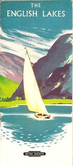 British Railways travel leaflet for The English Lakes travel. Illustration by Daphne Padden.