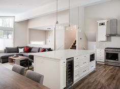 Kitchen and living room renovation by Madeleine Design Group from Vancouver, BC. *Re-pin to your inspiration board* Inspiration Boards, Vancouver, This Is Us, Group, Living Room, Interior Design, Bed, Kitchen, Projects