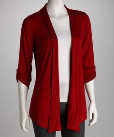 Mine!  Take a look at this Red Tab Sleeve Open Cardigan by By Design on #zulily today!