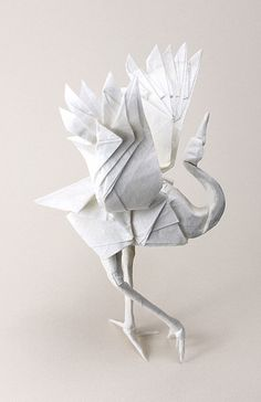 Origami Art - dancing crane, folded paper bird sculpture // nyanko sensei