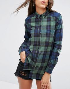 Image 3 ofASOS TALL Boyfriend Green & Navy Check Shirt