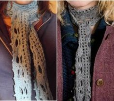 Left-- pattern scarf;    Right--Luna's scarf free crochet pattern Luna's scarf from harry potter