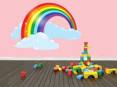 BEDROOM MURAL Huge Colorful Rainbow With Puffy Clouds Kids Children Boy Girl Home Decor Sticker Vinyl Wall Decal 20x20 larg453 on Etsy, $29.95