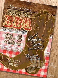 Country and western BBQ with cowboy boot invitation design template, Includes wooden background,lace, cowboy boot and table cloth. http://www.istockphoto.com/vector/country-and-western-bbq-with-cowboy-boot-invitation-design-template-53771686?st=de7ac8a